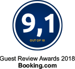 Booking.com Guest Review Award 9.1 out of 10